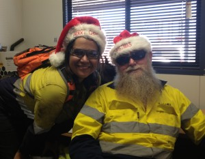 Working over Christmas isn't so bad 'cause I get to hang with Santa anyway!