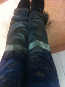 Drenched. How I got home after ignoring the hot tip to wear gumboots! That should teach me... Hopefully anyway!